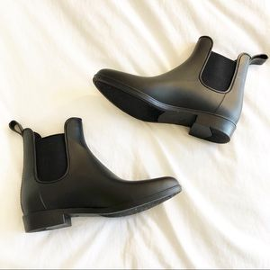 Marina Black Rubber Ankle Boots